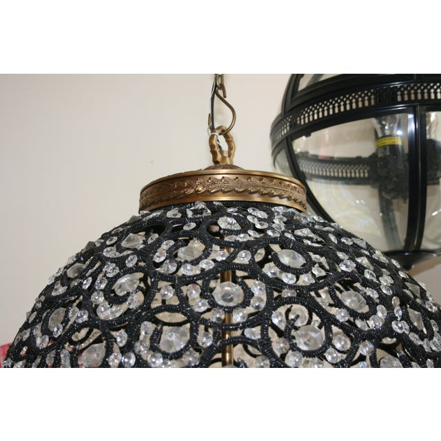 Large Crystal Black Swirl & Brass Chandelier - Image 4 of 5