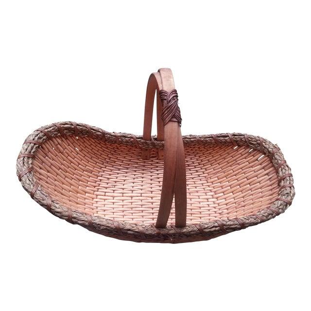 Vintage Rattan Gathering Basket - Image 1 of 5