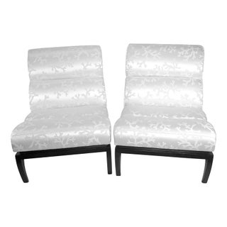 White Silk Shantung Slipper Chairs - A Pair