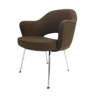 Executive Armchairs Designed by Eero Saarinen for Knoll in Brown Tweed