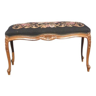Vintage French Provincial Style Carved Wood Black Floral Needlepoint Bench