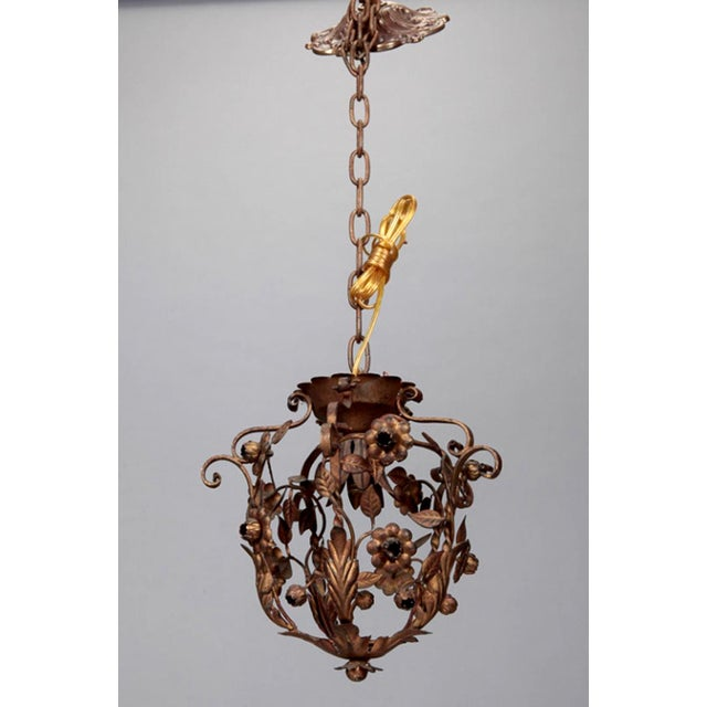 Small One Light Floral Tole Hanging Fixture - Image 3 of 6