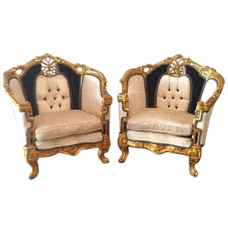 Antique Black & White Louis XVI Chairs - a Pair