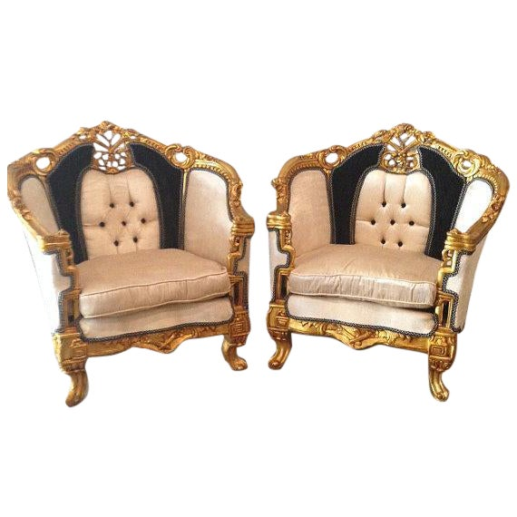 Image of Antique Black & White Louis XVI Chairs - a Pair