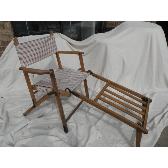 Antique Canvas Steamer Chair & Footrest - Image 2 of 8