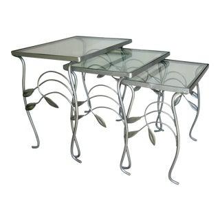 Mid-Century Deco Silver Leaf Motif Nesting Tables - Set of 3