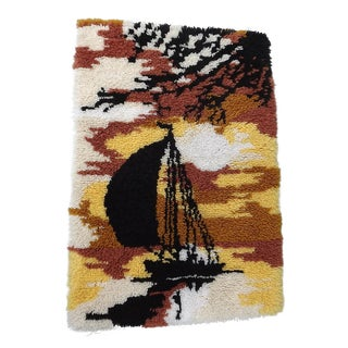 Mid-Century Hooked Rug with Sail Boat - 2′2″ × 3′