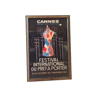 Vintage French Poster Cannes, France 1965