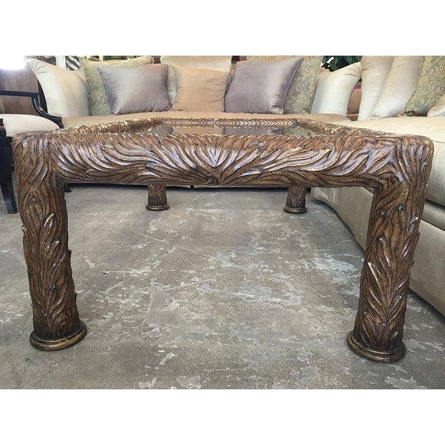 Image of Bronze and Gold Coffee Table With Foliate Texture