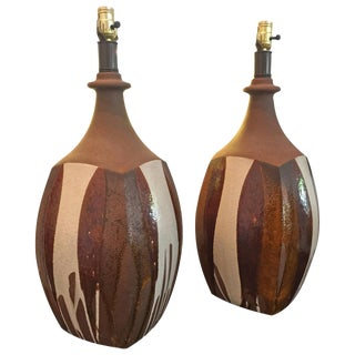 "David Cressey ""Flame"" Ceramic Pair of Table Lamps"