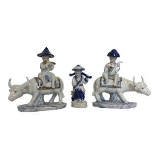 Vintage Chinoiserie Porcelain Figures - S/3