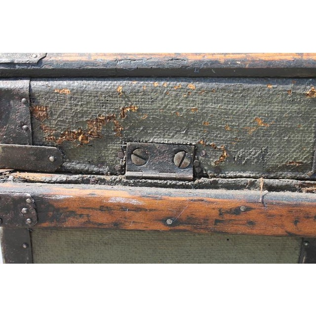 Image of 19th Century Original Green Painted Dome Top Trunk
