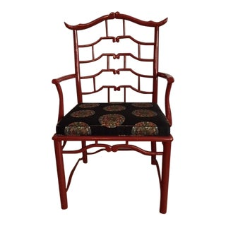 Century Furniture Red Lacquer Pagoda Chair
