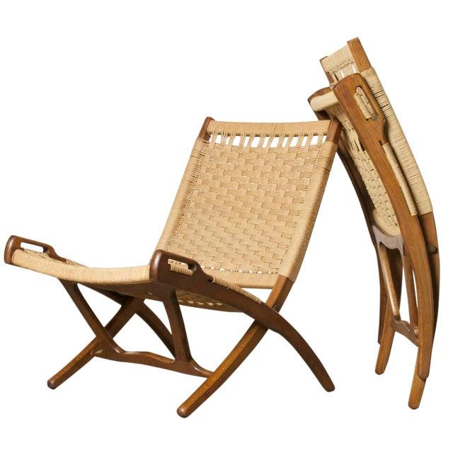 Hans Wegner Style Folding Rope Chairs A Pair Chairish