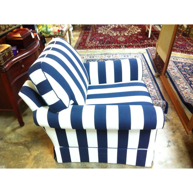 Navy Highback Accent Chair With White Stripe: Navy Blue And White Striped Chair