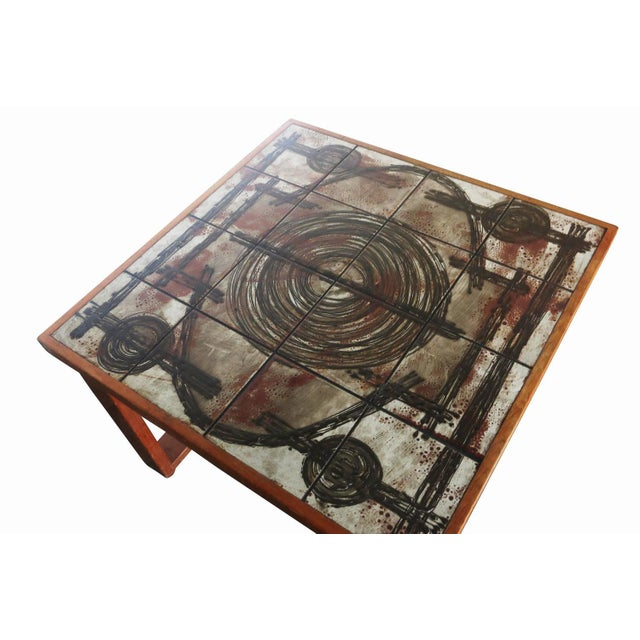 Tile Top Coffee Table With Teak Base by Ox-Art - Image 5 of 6