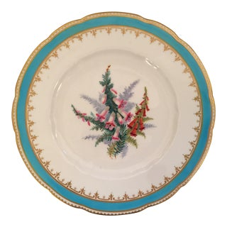 Antique English Plate With Turquoise Band