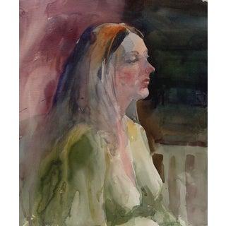 Portrait Study in Green Gown Watercolor