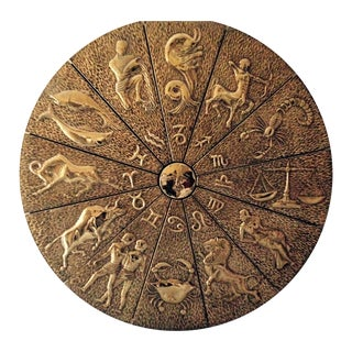 """Brass Zodiac Wall Decor - 30"""" Diameter"""