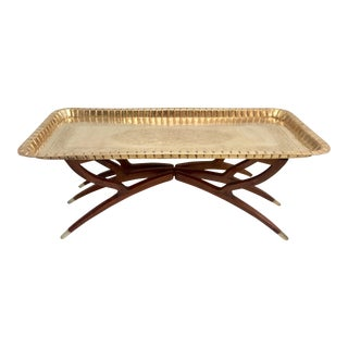 Mid-Century Moroccan Style Etched Brass & Mahogany Spider Table