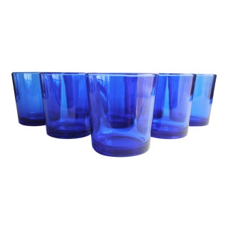 Vintage Cobalt Rocks Glasses - Set of 8