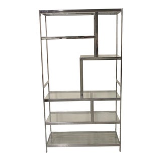 1970 Modern Chrome & Glass Etagere