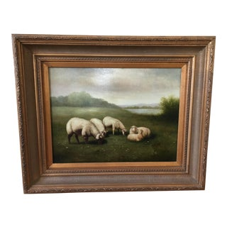 Framed Grazing Sheep Painting