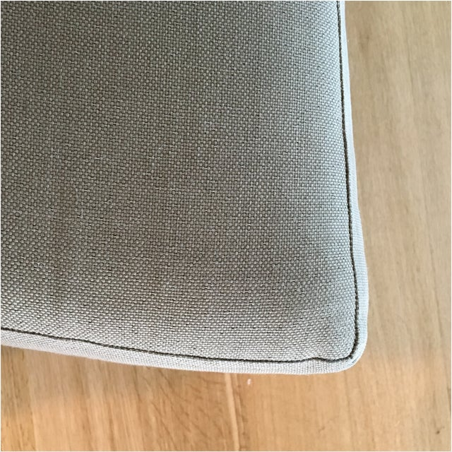Mid-Century Linen Upholstered Two Piece Setional Sofa - Image 4 of 9