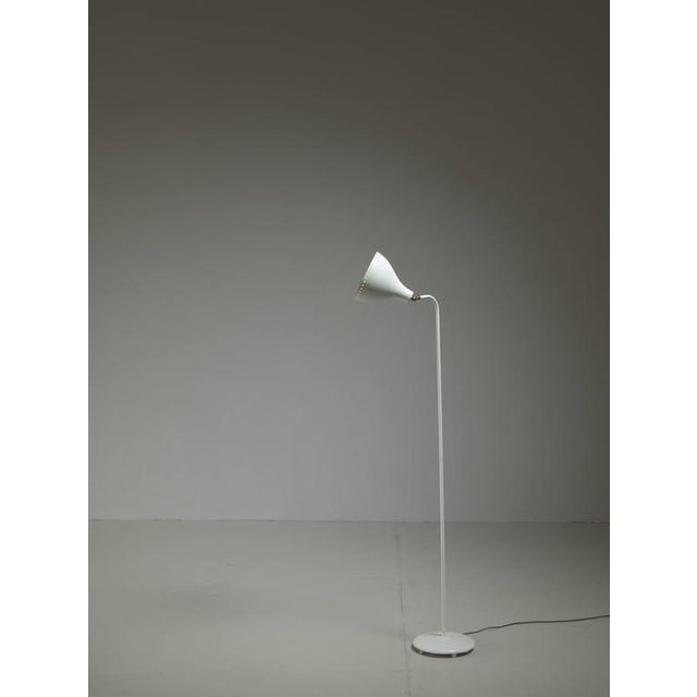Image of Jac Jacobsen White Metal Floor Lamp, Norway, 1950s