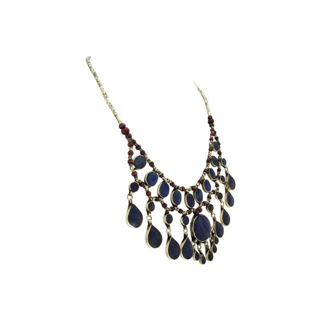 Image of Lapis Lazuli Tribal Fringe Necklace