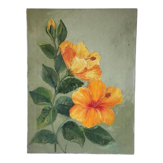Vintage Hibiscus Canvas Oil Painting