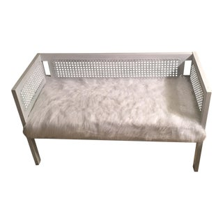 Vintage White Faux Fur Wicker Settee