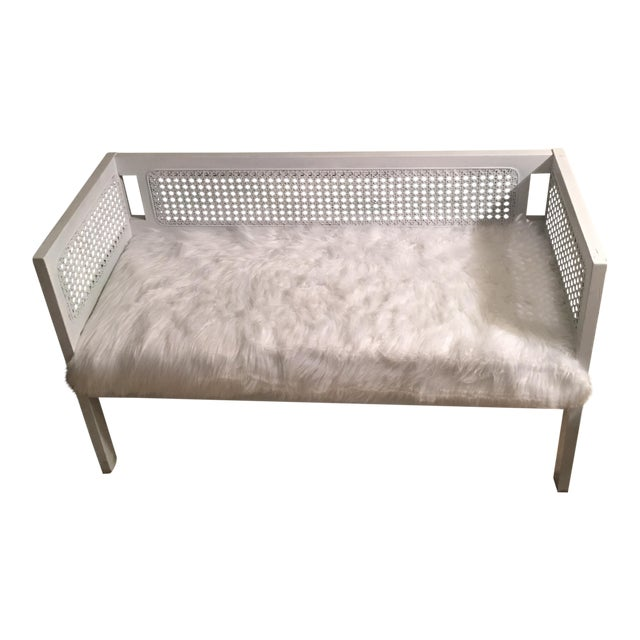 Vintage White Faux Fur Wicker Settee - Image 1 of 7