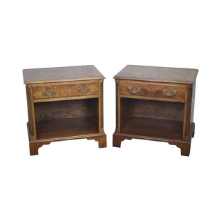 Baker Burl Walnut Chippendale Style Nightstands - A Pair