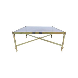 Modern Brass Coffee Table with Smoked Glass
