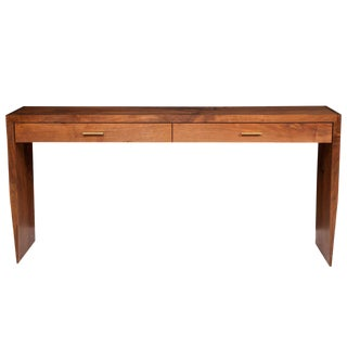 Stillmade Solid Walnut Two-Drawer Tapered Console Table