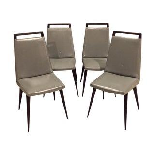 Vintage 1960s Mod Wood & Vinyl Chairs - 4