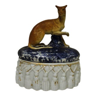 Antique Whippet Trinket Box