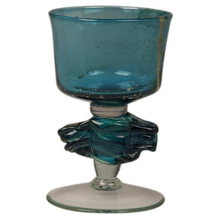 Vintage Mdina Glass Goblet in Turquoise from Malta circa 1975
