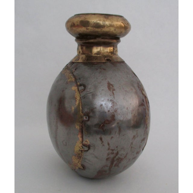 Image of Vintage Industrial Style Brass and Metal Vase