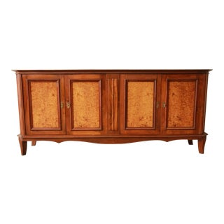 Vintage French Burled and Inlaid Maple Sideboard