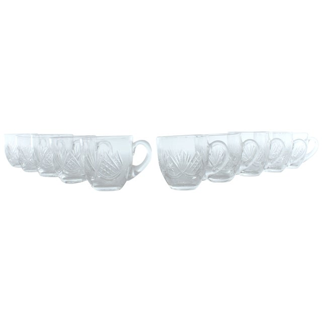 Fan Pattern Glass Espresso Mugs - Set of 10 - Image 1 of 3