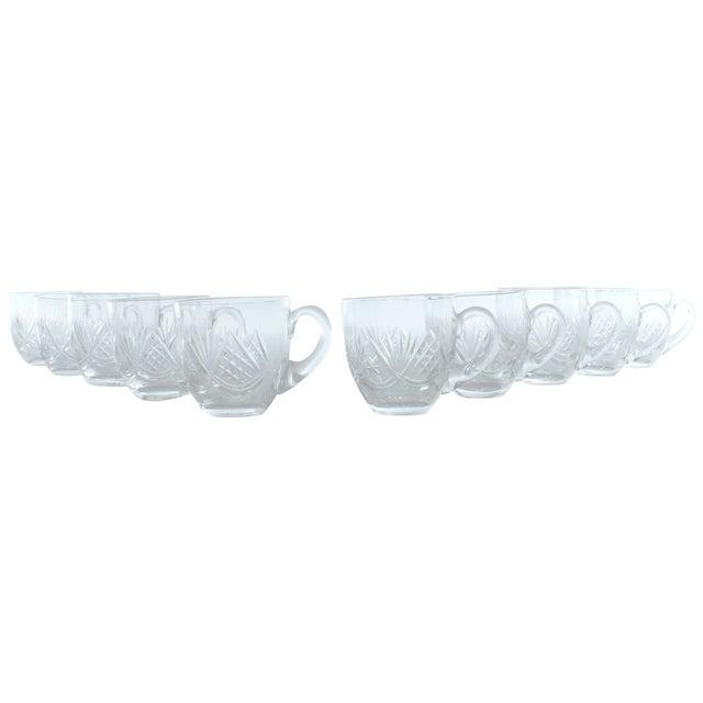 Image of Fan Pattern Glass Espresso Mugs - Set of 10