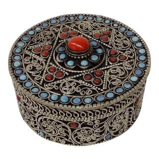 Vintage Tibetan Turquoise & Coral Stone Silver Trinket Box