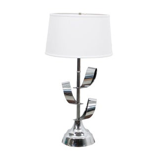 Mod '70s Chrome Table Lamp With Ribbon Motif