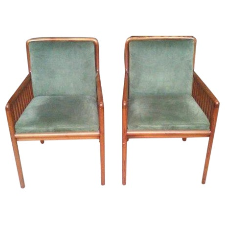 Ward Bennett for Brickel Teak Suede Chairs - A Pai - Image 1 of 7