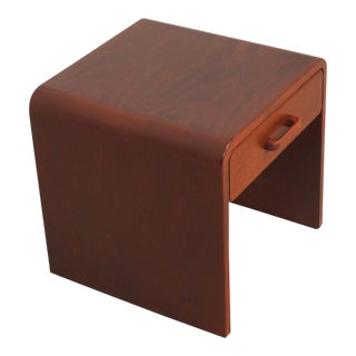 Danish Modern Side Table with Rounded Corners in Teak with One Drawer