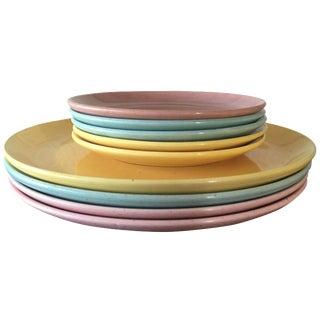 Bauer & Monterey Pastel Splatter Glaze Plates - S/9