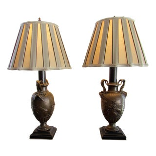 Antique French Bronze Ornate Lamps - A Pair