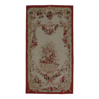 French Aubusson Design Hand-Woven Wool Rug - 2′4″ × 5′2″